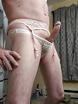 Pink nylon and lace panty ensemble